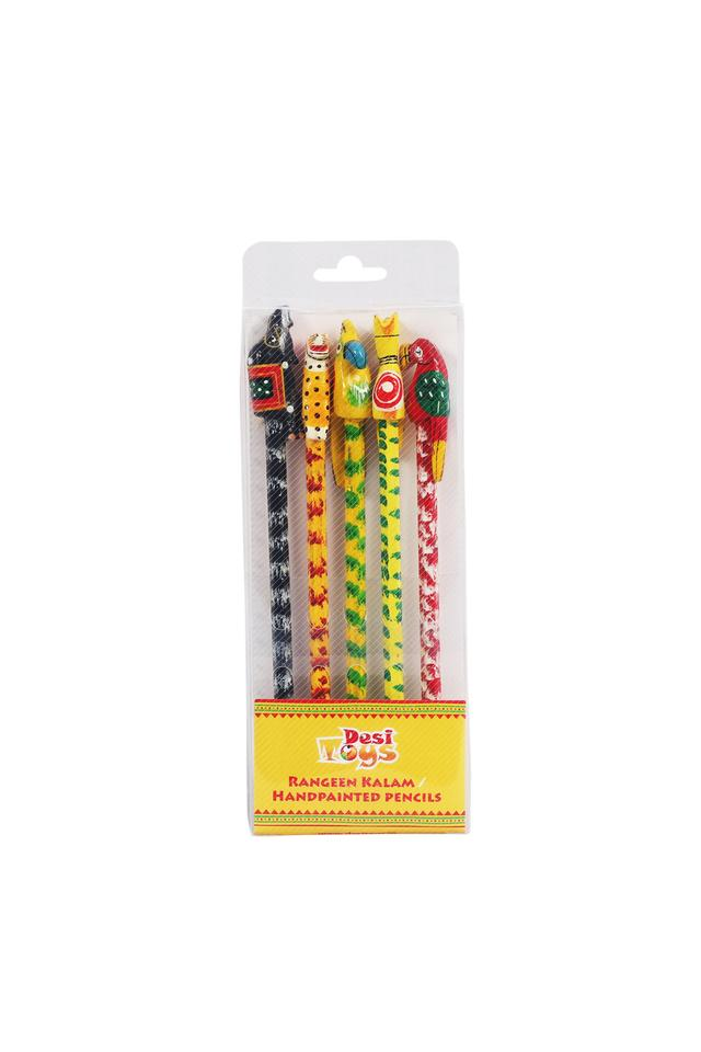 Hand Painted Pencils Set Of 5/Rangeen Kalam