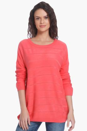 ONLY Womens Round Neck Solid Pullover