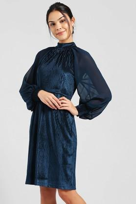 Womens High Neck Striped Knee Length Dress