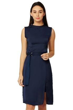 Womens Band Neck Solid A-Line Dress