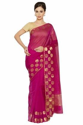 JASHNWomens Gold Woven Saree - 202378770_9568
