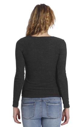 Womens V- Neck Knitted Pattern Top