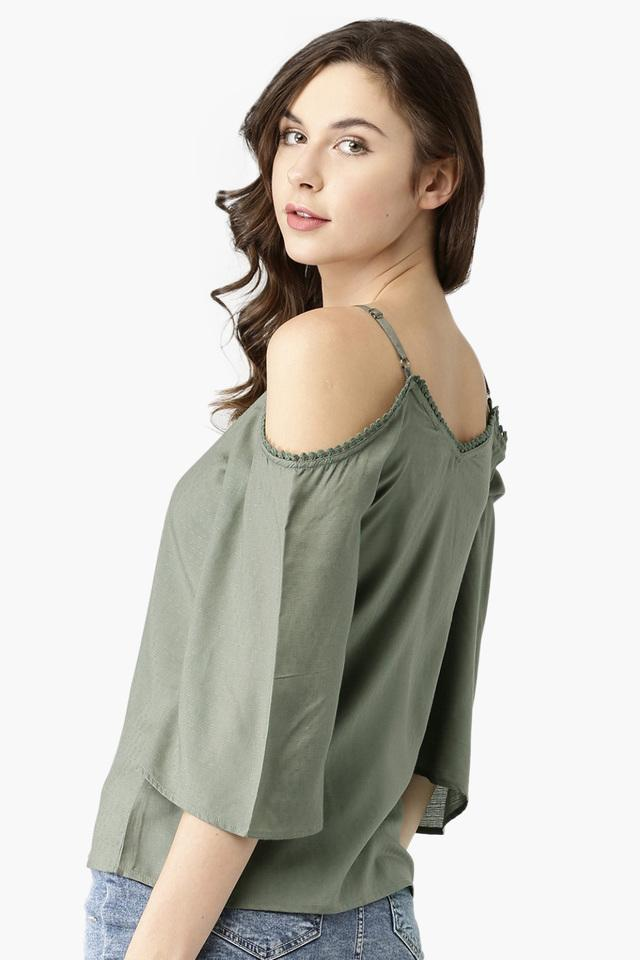 Womens Self Pattern Cold Shoulder Top