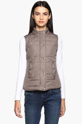 U.S. POLO ASSN. Womens High Neck Solid Quilted Jacket