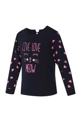 Girls Round Neck Graphic Print Sweatshirt