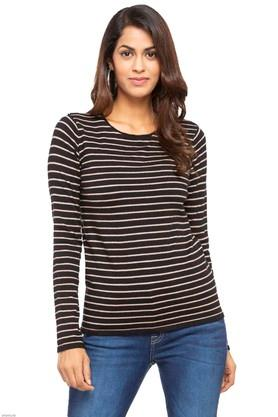 FEMINA FLAUNT Womens Round Neck Stripe Sweater - 203457918