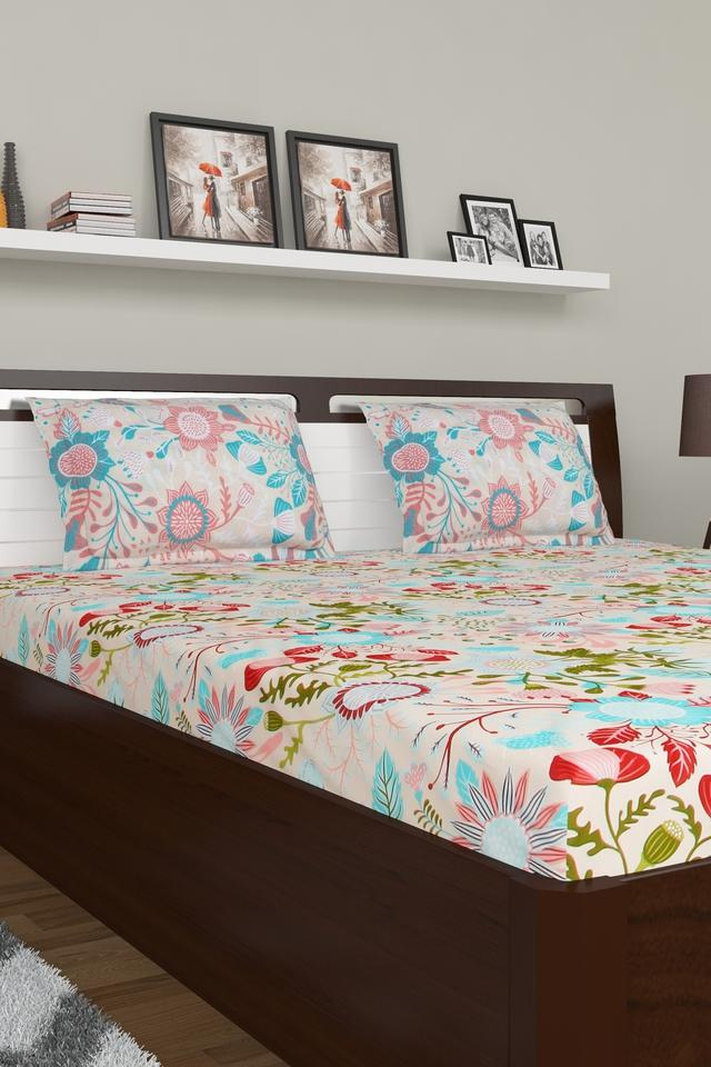 Floral Printed Large Bed Sheet with Pillow Cover