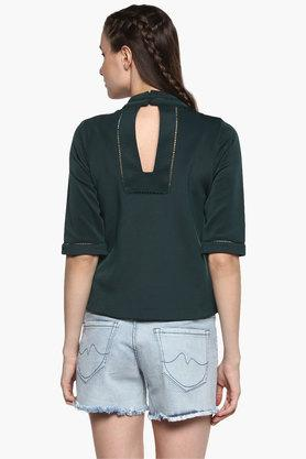 Womens Collared Neck Solid Top