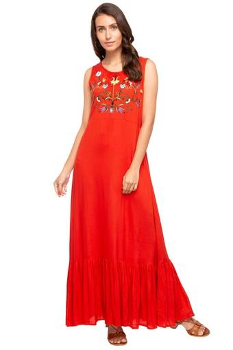 Womens Round Neck Solid Embroidered Maxi Dress
