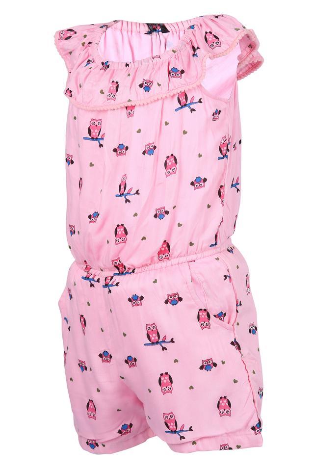 Girls Round Neck Printed Jumpsuit