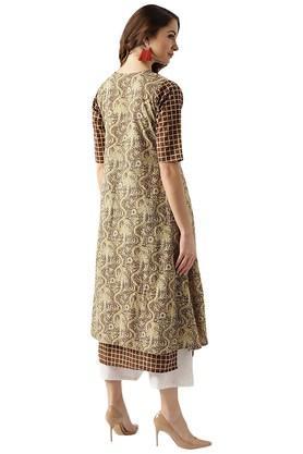 Womens Cotton A Line Kurta With Ethnic Jacket