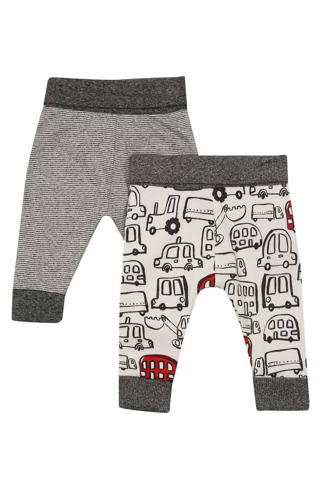 Kids Printed and Striped Pants - Pack of 2