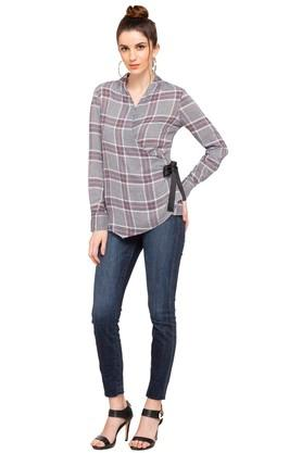 Womens Surplice Neck Checked Top