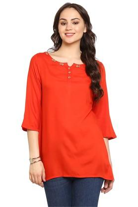 JUNIPER Womens Red Rayon Short Kurta