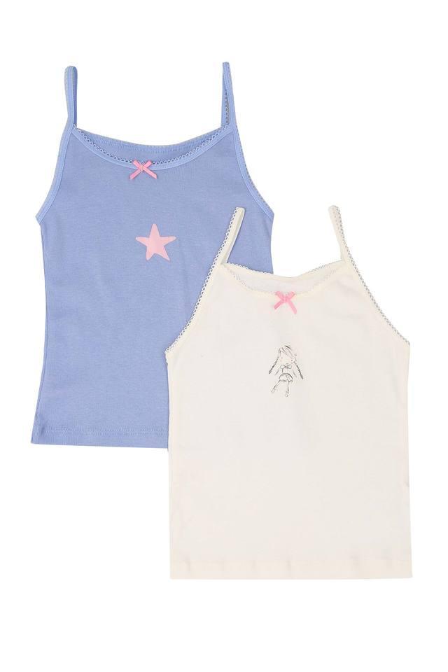 Girls Solid Vest - Pack Of - 2