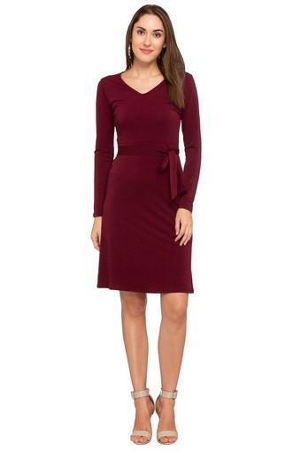 Womens V Neck Solid Shift Dress