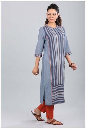 Womens Mandarin Neck Striped Kurta