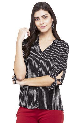 Womens Mandarin Neck Striped Top