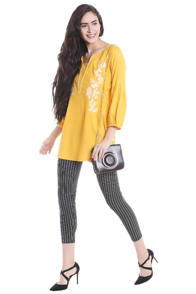 Womens Notched Neck Embroidered Tunic