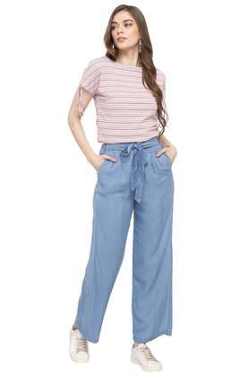 Womens 4 Pocket Broad Leg Heavy Wash Jeans