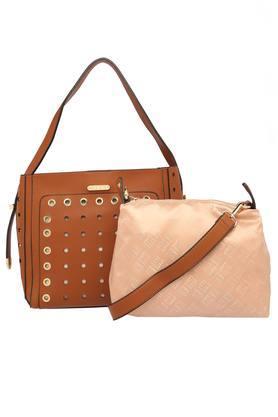 Womens Snap Closure Tote Handbag With Sling Bag