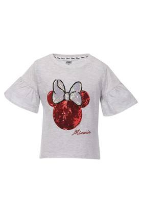 Girls Round Neck Sequined Top