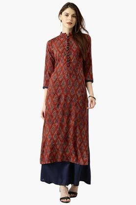 LIBAS Womens Printed Straight Kurta With Solid Palazzo