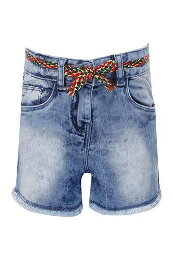 Girls 5 Pocket Solid Shorts