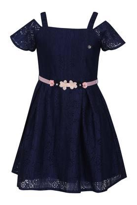 Girls Square Neck Perforated A-Line Dress with Belt