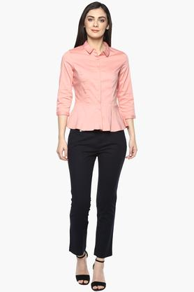 Womens 4 Pocket Solid Trouser