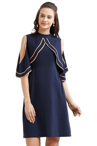 Womens High Neck Solid Shift Dress