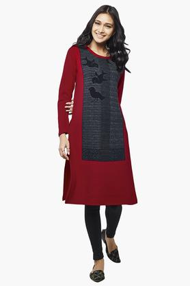 GLOBAL DESI Womens Round Neck Printed Kurta - 202891743
