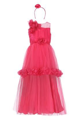 Girls Round Neck Applique Maxi Dress with Hairband