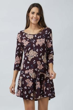 Womens Round Neck Floral Flared Dress