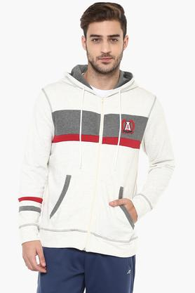 ALCIS Mens Zip Through Neck Colour Block Sweatshirt