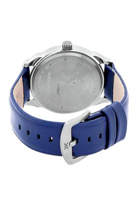 Mens Silver Dial Leather Analogue Watch - KLM120E
