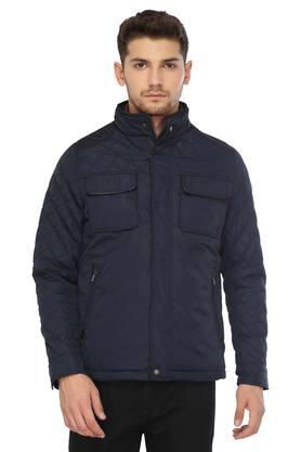 LOUIS PHILIPPEMens Zip Through Neck Solid Quilted Jacket