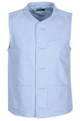Boys Mandarin Collar Textured Waistcoat