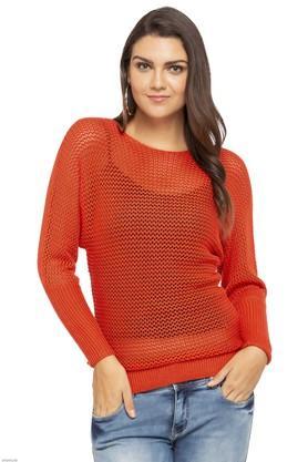 ELLEWomens Round Neck Slub Knitted Sweater