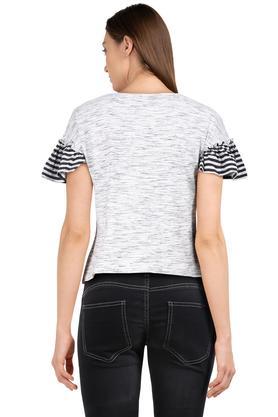 Womens Round Neck Textured T-Shirt