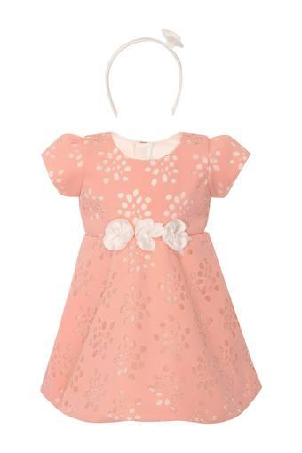 Girls Round Neck Perforated A-Line Dress with Hairband