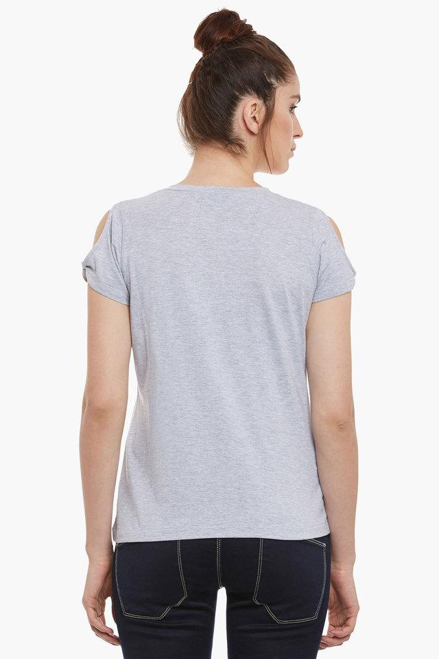 Womens Round Neck Relaxed Fit Slub Top