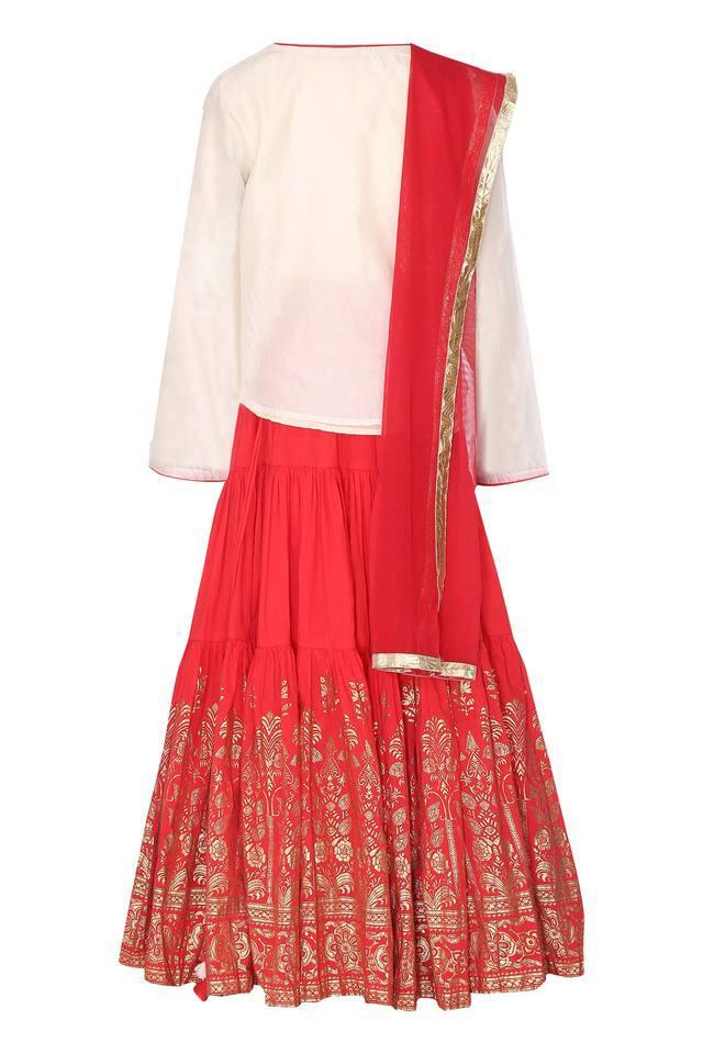 Girls Embroidered Ghaghra Choli Dupatta Set