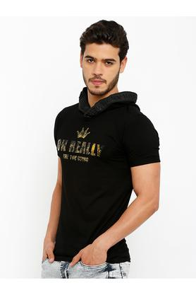 Mens Hooded Neck Graphic Print T-Shirt
