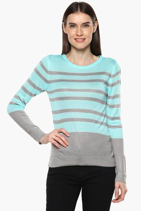 RS BY ROCKY STAR Womens Round Neck Striped Sweater