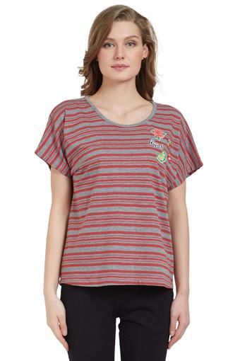 Womens Round Neck Striped Tee