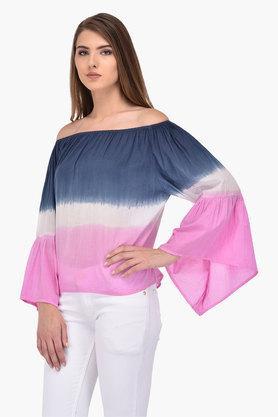 Womens Off Shoulder Neck Colour Block Top