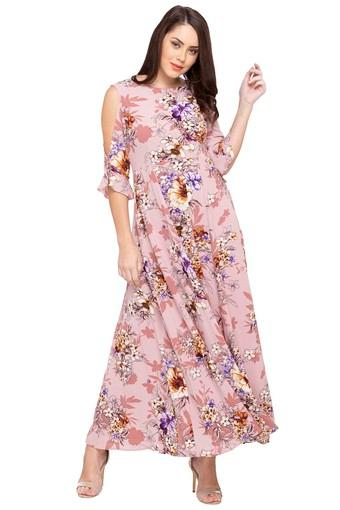 50f2298605 Buy ZINK LONDON Womens Round Neck Floral Print Maxi Dress