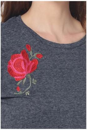 Womens Round Neck Embroidered T-Shirt