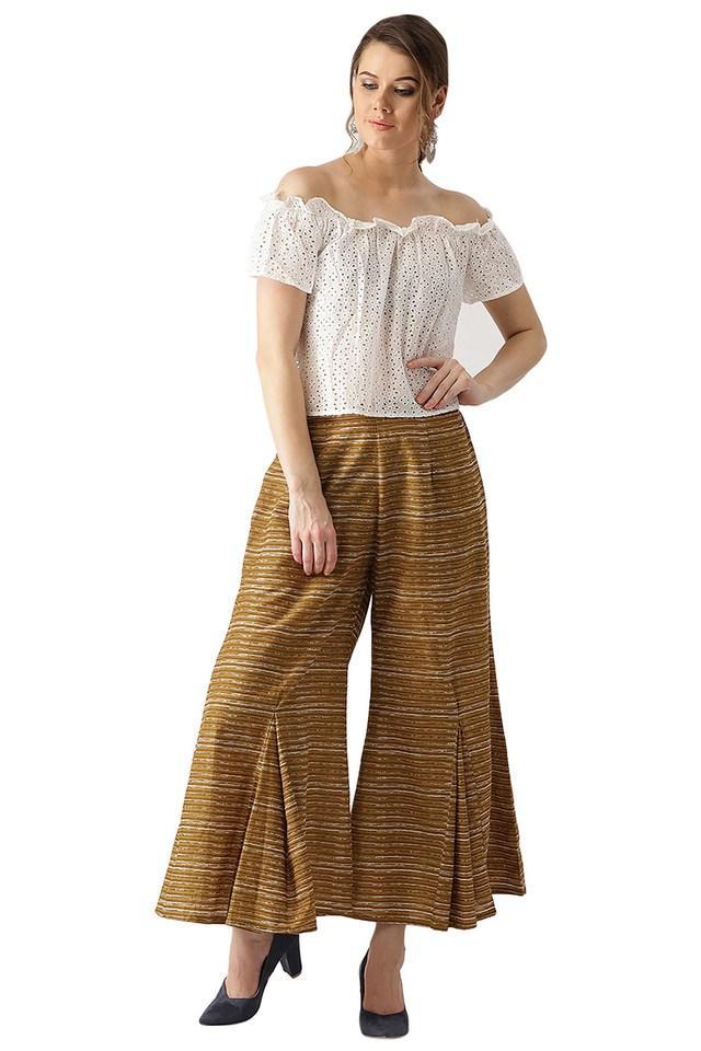 Womens Cotton Stripes Palazzo